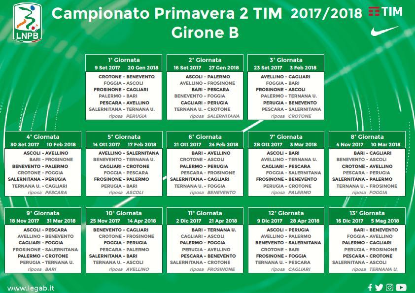 Benevento Calendario.Primavera Pubblicato Il Calendario 2017 2018